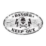niebezpieczeństwa owalu znaczek ilustracja wektor