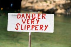 Niebezpieczeństwo Bardzo Śliski znak zdjęcie stock