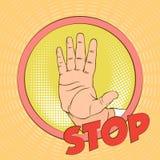 niebezpieczeństwo Emocje i nastrój retro ilustracje Ręki szyldowy ostrzeżenie niebezpieczeństwo Przerwa royalty ilustracja