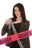 Niebezpieczeństwo kobieta z łańcuchem Obraz Royalty Free