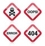 Niebezpieczeństwo, oops, błąd, 404 czerwieni znak ostrzegawczy ilustracji