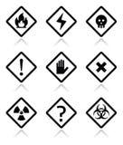 Niebezpieczeństwo, ostrzeżenie, uwag kwadratowe ikony ustawiać ilustracja wektor