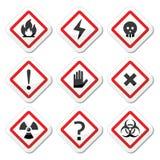 Niebezpieczeństwo, ostrzeżenie, uwag kwadratowe ikony ustawiać ilustracji