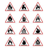 Niebezpieczeństwo pożarnicze ikony z płomieniem odizolowywającym na bielu Zdjęcie Stock