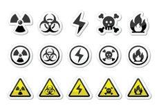 Niebezpieczeństwo, ryzyko, ostrzegawcze ikony ustawiać ilustracja wektor