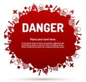 Niebezpieczeństwo znaka set w obłocznym sztandarze Fotografia Royalty Free