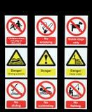 Niebezpieczeństwo znaki ostrzegawczy royalty ilustracja