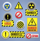 Niebezpieczeństwa znaki, guziki i ikony, ilustracja wektor