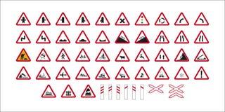 Niebezpieczeństwo ruchu drogowego znaki Zdjęcie Royalty Free