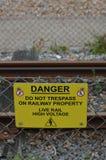 Niebezpieczeństwo no naruszenie własności znak Zdjęcie Stock