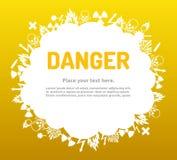 Niebezpieczeństwo znaka set w obłocznym sztandarze Obraz Royalty Free