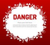Niebezpieczeństwo znaka set w obłocznym sztandarze Zdjęcie Royalty Free