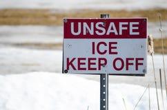 Niebezpieczny lód - utrzymanie Z znaka Zdjęcie Stock