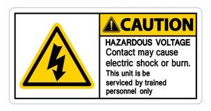 Niebezpieczny woltażu kontaktu Maja przyczyny porażenie prądem Lub oparzenie znak Odizolowywamy Na Białym tle, Wektorowa ilustrac ilustracja wektor