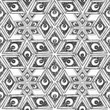 Niebiański dachówkowy bezszwowy wzór, blokowego druku tapeta z geometrią i półksiężyc odizolowywająca na białym tle, czarny i bia royalty ilustracja