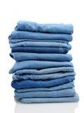 niebiescy dżinsy brogują biel Zdjęcia Stock