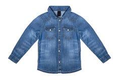 Niebiescy dżinsy koszula odizolowywająca na białym tle obraz stock