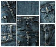 Niebiescy dżinsy kolaż Fotografia Royalty Free