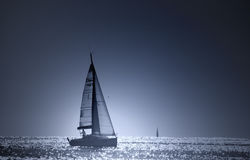 niebieska łódź Zdjęcie Stock