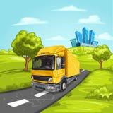 niebieska asfaltowego kopii większego miejsca nieba tekstu drogowy ciężarówki żółty Obrazy Stock