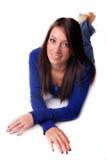 niebieska dziewczyna dość uśmiecha się na szczyt Obrazy Royalty Free