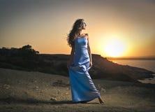 niebieska dziewczyna, piękna Obrazy Royalty Free