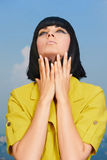 niebieska dziewczyna z nieba lato Zdjęcia Royalty Free
