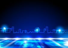 Niebieska linia w kształcie miasto z jaśnień światłami i fluorescencyjnym g Ilustracji