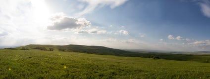 niebieska spowodowana pola pełne się chmura dzień zielonych roślin krajobrazu ruchu pokaz mały nie niebo było pszenicznym biały w Obraz Royalty Free
