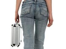 niebieska sprawa dżinsy metalową kobieta Fotografia Stock