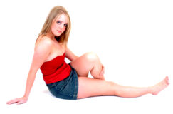 niebieska stanik czerwonym spódnica Obrazy Stock