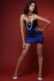 niebieska sukienka brunetki Zdjęcia Stock