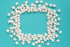 niebieska tła Rama robić białe gwiazdy Fotografia Royalty Free
