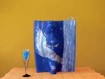 niebieska świeca dekoracyjna Obraz Stock