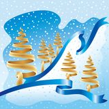 niebieska złota zima Zdjęcie Royalty Free