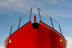 niebieski łódź czerwone niebo Zdjęcie Royalty Free