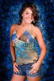 niebieski brunetka model Obrazy Stock