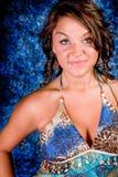 niebieski brunetka model Zdjęcia Royalty Free