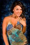 niebieski brunetka model obrazy royalty free