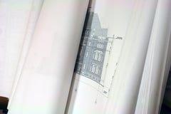 niebieski budynków planów druku Zdjęcia Stock