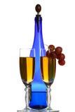 niebieski butelek wina okularów, Zdjęcie Stock
