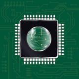 niebieski chip komputerowy odcień ilustracji