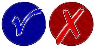 niebieski czek okrąża czerwony Zdjęcia Stock