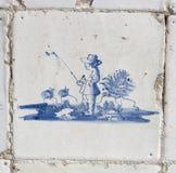 niebieski Delft rybaka rocznik kafli. Fotografia Stock