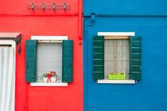 niebieski dom czerwony Obrazy Stock
