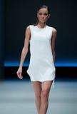 niebieski fotografa mody flash pokaz odcień Kobieta na podium Fotografia Stock