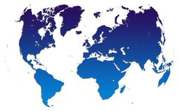 niebieski gradientowy mapa świata Obrazy Stock