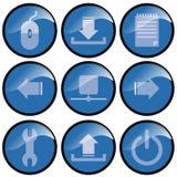 niebieski guzik ikonę Obraz Stock