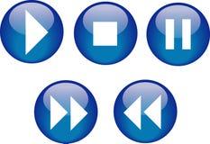 niebieski guzik odtwarzacz cd Obrazy Stock