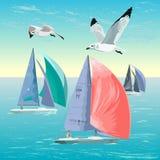 niebieski kolor ciemno losed regaty pożeglować victora sportowych płynie do nieba Jachtu klub Sport rywalizacje na jachtach rywal royalty ilustracja